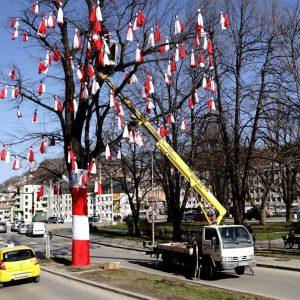 """Габровското чудо """"Дърво на пътя"""" се накичи с мартеници"""